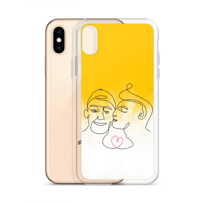 Phone case with 2 men kissing in front of a yellow gradient. The design is made from a single pencil line. A red heart connect the two lovers. Phone Cases - LGBTQ+ Gay Pride Apparel - iphone case iphone x xs case with phone 6097b2d7b3cc7