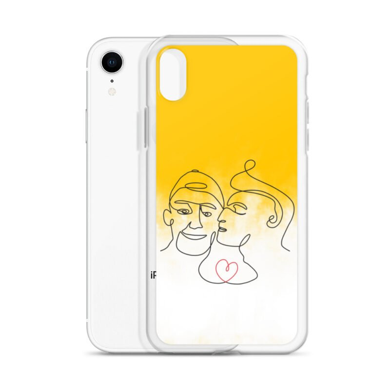 Phone case with 2 men kissing in front of a yellow gradient. The design is made from a single pencil line. A red heart connect the two lovers. Phone Cases - LGBTQ+ Gay Pride Apparel - iphone case iphone xr case with phone 6097b2d7b3d5c