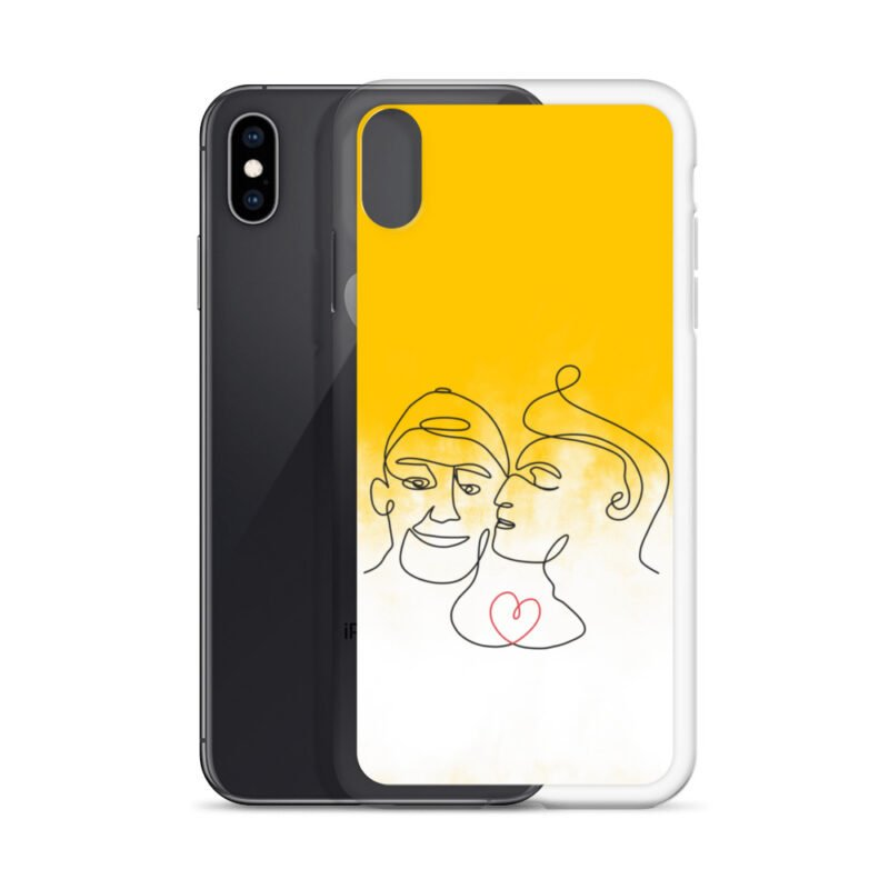 Phone case with 2 men kissing in front of a yellow gradient. The design is made from a single pencil line. A red heart connect the two lovers. Phone Cases - LGBTQ+ Gay Pride Apparel - iphone case iphone xs max case with phone 6097b2d7b3db6