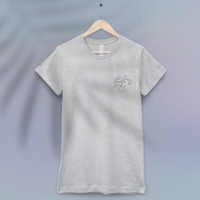 T-shirt with an embroidery showing 2 guys in love. The drawing is made from a single line. A colored heart connect the 2 lovers. T-shirts - LGBTQ+ Gay Pride Apparel - lovers color tshirt 1