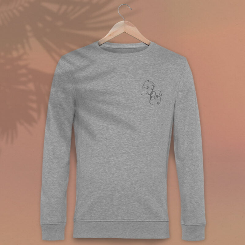 Regular fit sweat with an embroidery on the left chest. The embroidery shows 2 men doing a 69 kiss. The drawing is made from a single pencil line. Sweats - LGBTQ+ Gay Pride Apparel - monoline premium 1