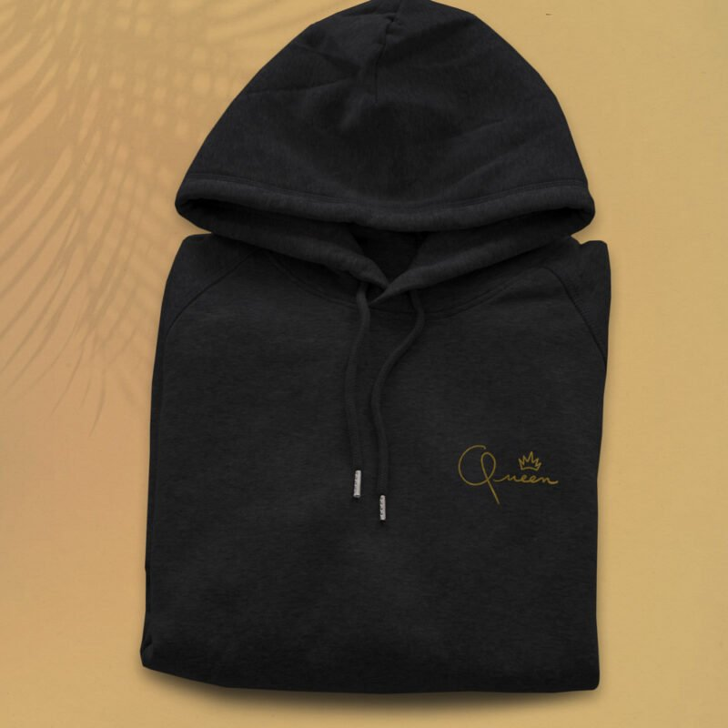 """Hoodie with a golden embroidery on the chest. It represents the word """"Queen"""" and a crown. This product is eco-friendly. Hoodies - LGBTQ+ Gay Pride Apparel - queen hoodie 1"""