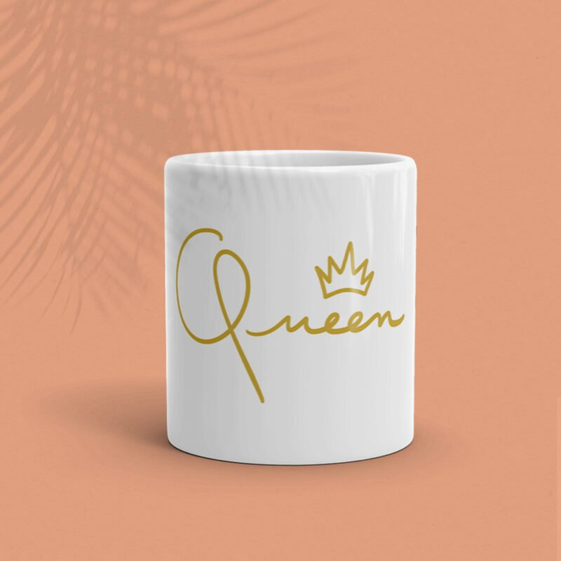 Mug for the true queens. It represents the word Queen handwritten with a little crown. Mugs - LGBTQ+ Gay Pride Apparel - queen mug 1