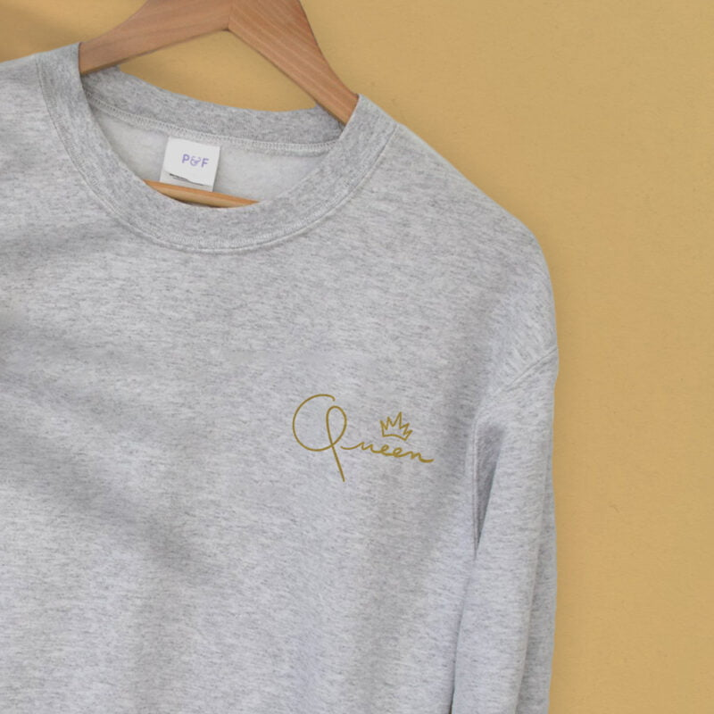Relax fit sweat with the word Queen embroidered in the chest. The embroidery is golden because true queens can only wear gold. Sweats - LGBTQ+ Gay Pride Apparel - queen relax 2