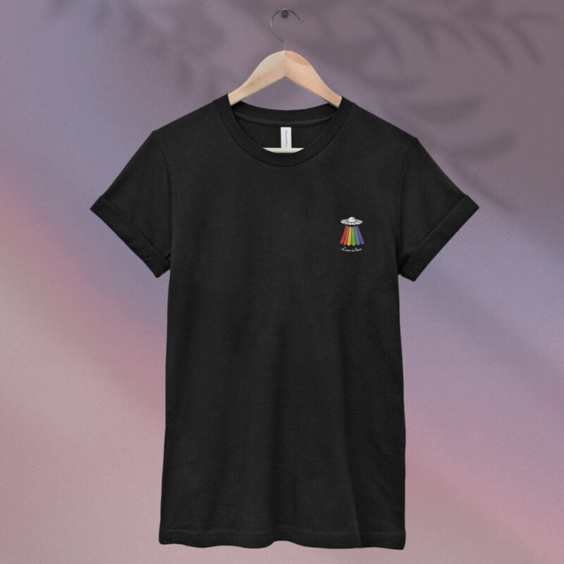 Love can come from anywhere and even from heaven. We believe that aliens are more open-minded than humans. T-shirts - LGBTQ+ Gay Pride Apparel - ufo rainbow tshirt 1