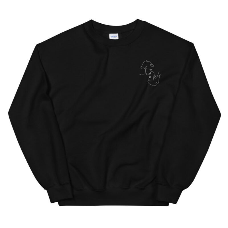 Relax fit sweat with an embroidery on the chest. The embroidery shows a gay couple kissing in a 69 style. The drawing is made from a single pencil line. Sweats - LGBTQ+ Gay Pride Apparel - unisex crew neck sweatshirt black front 60a3aa1a13bdb