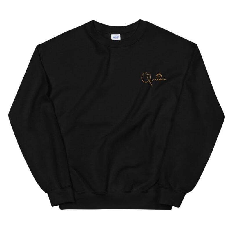 Relax fit sweat with the word Queen embroidered in the chest. The embroidery is golden because true queens can only wear gold. Sweats - LGBTQ+ Gay Pride Apparel - unisex crew neck sweatshirt black front 60af770dd2471