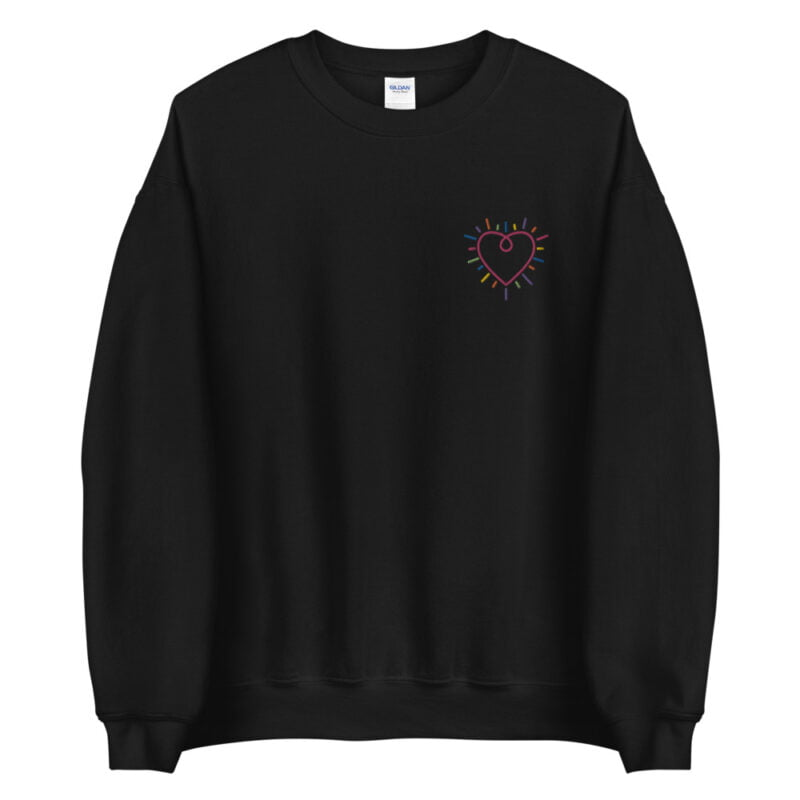Show how colored is your heart. This sweatshirt has a heart-shaped embroidery in the colors of the rainbow in the chest. Sweats - LGBTQ+ Gay Pride Apparel - unisex crew neck sweatshirt black front 60b3b2b588504