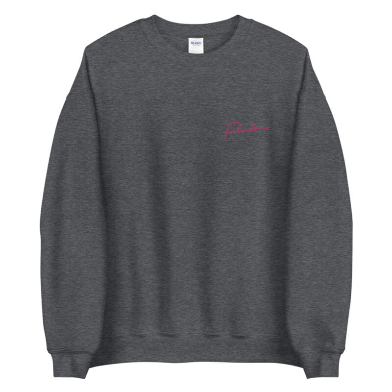 Relax fit sweat with the word fabulous embroidered on the left chest. This word is written in a pink color and an handwriting style. Sweats - LGBTQ+ Gay Pride Apparel - unisex crew neck sweatshirt dark heather front 60a38b0d54054