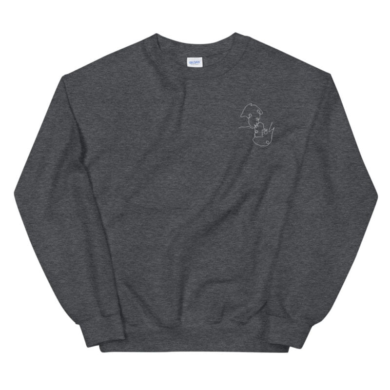 Relax fit sweat with an embroidery on the chest. The embroidery shows a gay couple kissing in a 69 style. The drawing is made from a single pencil line. Sweats - LGBTQ+ Gay Pride Apparel - unisex crew neck sweatshirt dark heather front 60a3aa1a14589