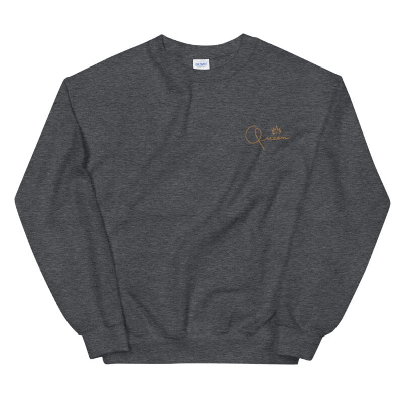 Relax fit sweat with the word Queen embroidered in the chest. The embroidery is golden because true queens can only wear gold. Sweats - LGBTQ+ Gay Pride Apparel - unisex crew neck sweatshirt dark heather front 60af770dd3aa3