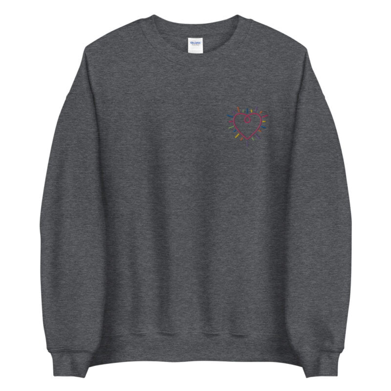 Show how colored is your heart. This sweatshirt has a heart-shaped embroidery in the colors of the rainbow in the chest. Sweats - LGBTQ+ Gay Pride Apparel - unisex crew neck sweatshirt dark heather front 60b3b2b58896c