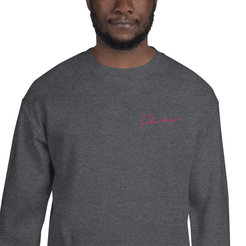 Relax fit sweat with the word fabulous embroidered on the left chest. This word is written in a pink color and an handwriting style. Sweats - LGBTQ+ Gay Pride Apparel - unisex crew neck sweatshirt dark heather zoomed in 60a38b0d52728