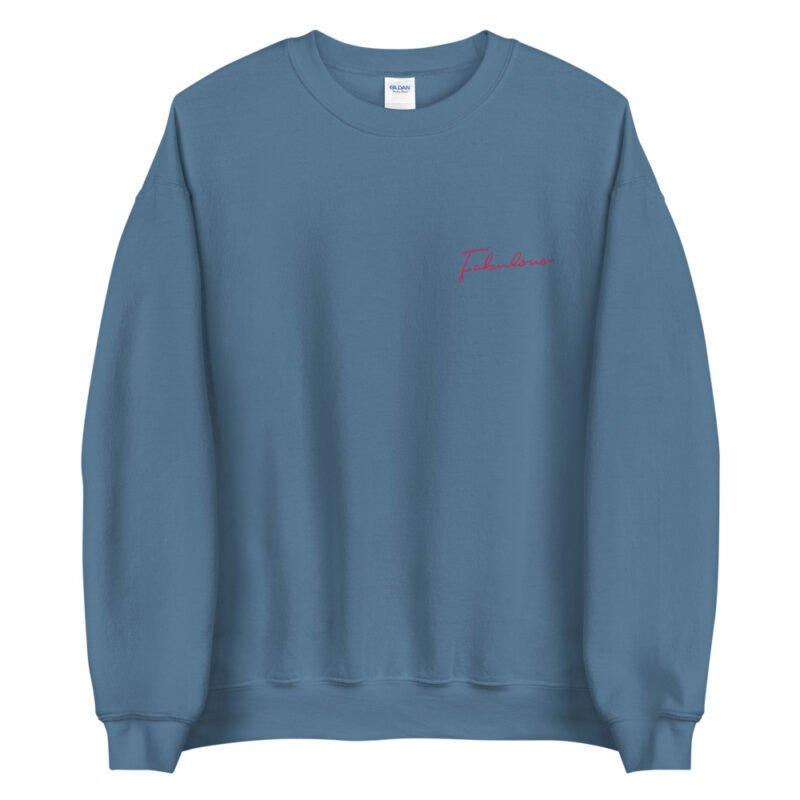 Relax fit sweat with the word fabulous embroidered on the left chest. This word is written in a pink color and an handwriting style. Sweats - LGBTQ+ Gay Pride Apparel - unisex crew neck sweatshirt indigo blue front 60a38b0d549f8