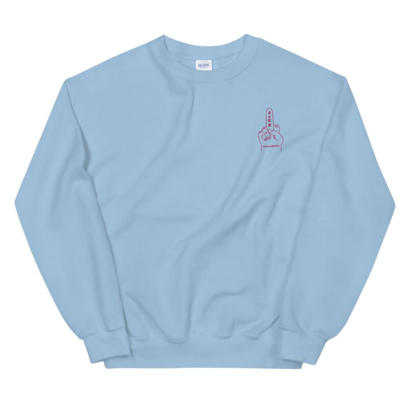 """Relax fit sweat with an anti homophobia message embroidered on the left chest. """"F*ck homophobia"""" is written in pink letters. Sweats - LGBTQ+ Gay Pride Apparel - unisex crew neck sweatshirt light blue front 60a2aa2f9aeac"""