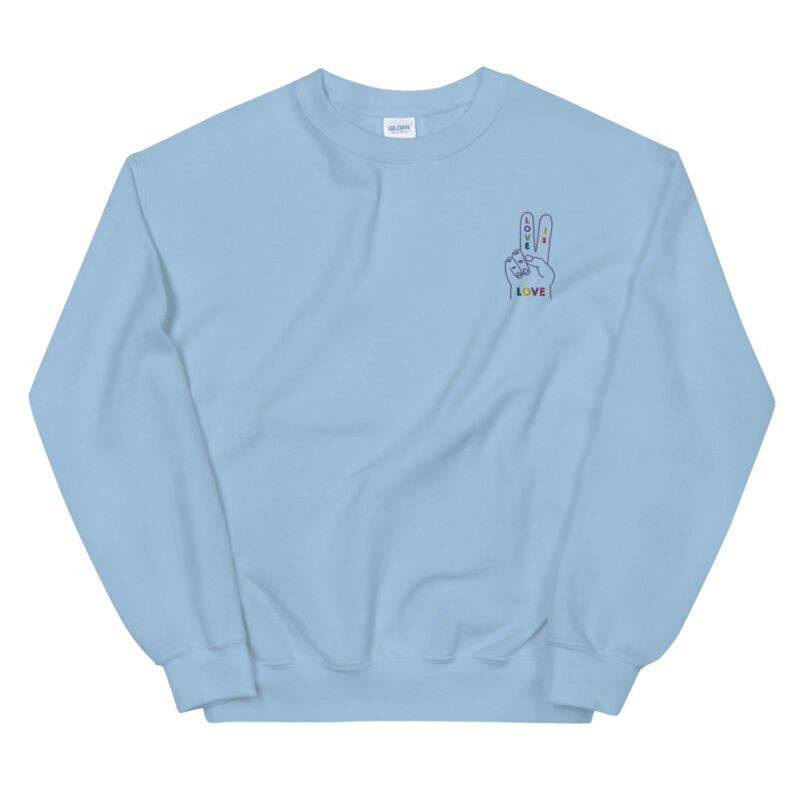 """Relax fit sweat with a disign on the left chest. A hand with the message """"Love is love"""" is embroidered with rainbow colors. Sweats - LGBTQ+ Gay Pride Apparel - unisex crew neck sweatshirt light blue front 60a2ab5244cdf"""