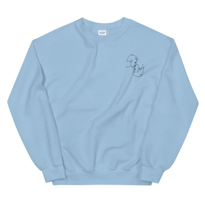 Relax fit sweat with an embroidery on the chest. The embroidery shows a gay couple kissing in a 69 style. The drawing is made from a single pencil line. Sweats - LGBTQ+ Gay Pride Apparel - unisex crew neck sweatshirt light blue front 60a3a06b410a2