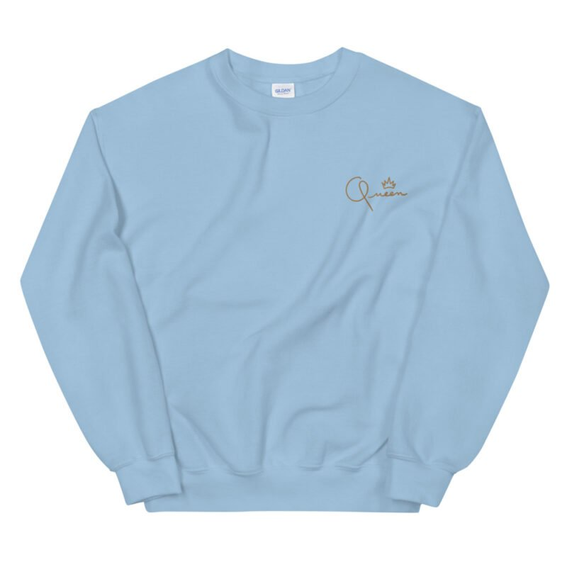 Relax fit sweat with the word Queen embroidered in the chest. The embroidery is golden because true queens can only wear gold. Sweats - LGBTQ+ Gay Pride Apparel - unisex crew neck sweatshirt light blue front 60af770dd430d