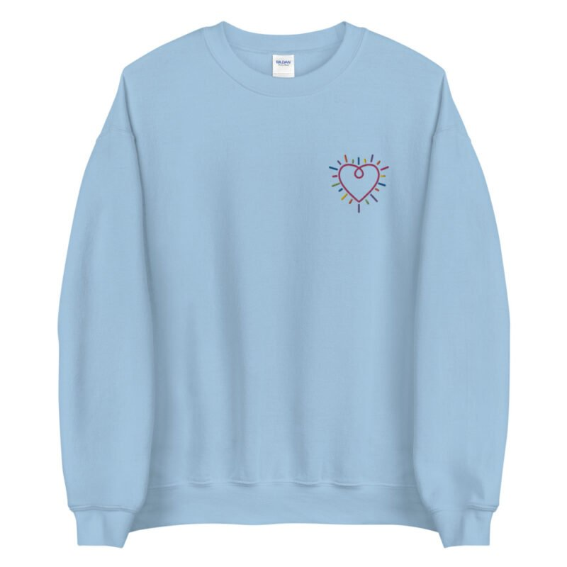 Show how colored is your heart. This sweatshirt has a heart-shaped embroidery in the colors of the rainbow in the chest. Sweats - LGBTQ+ Gay Pride Apparel - unisex crew neck sweatshirt light blue front 60b3b2b589406