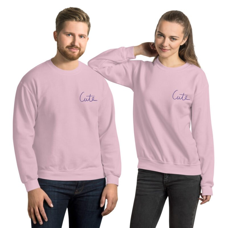Relax fit sweat with the word Cute embroidered in the chest. The color of the embroidery is purple. Sweats - LGBTQ+ Gay Pride Apparel - unisex crew neck sweatshirt light pink front 6095c862d4ce8