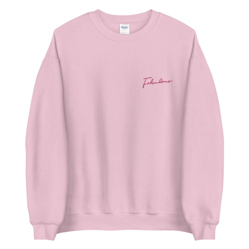 Relax fit sweat with the word fabulous embroidered on the left chest. This word is written in a pink color and an handwriting style. Sweats - LGBTQ+ Gay Pride Apparel - unisex crew neck sweatshirt light pink front 60a38b0d56879