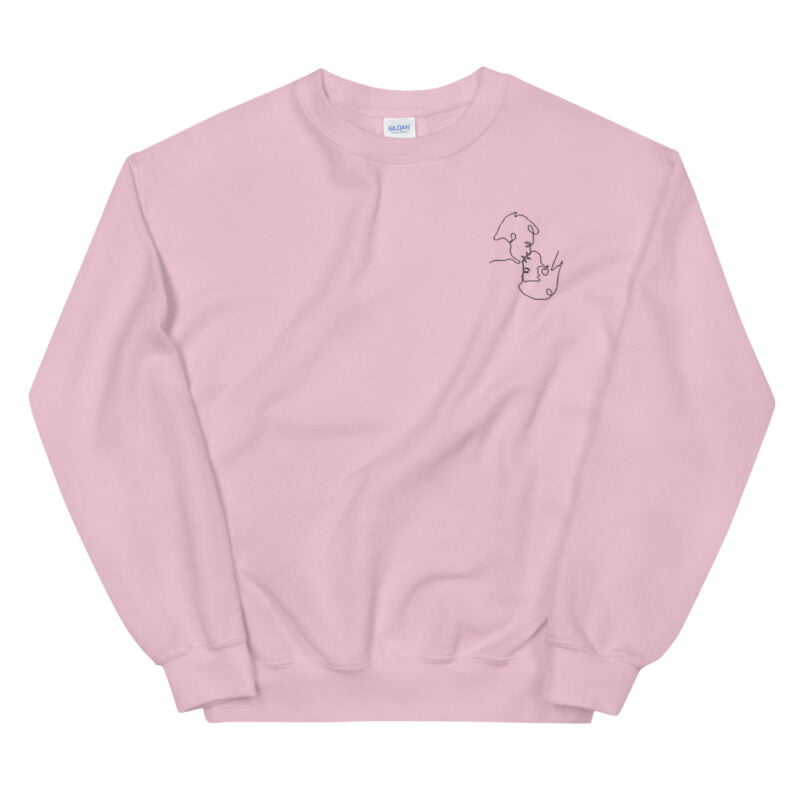 Relax fit sweat with an embroidery on the chest. The embroidery shows a gay couple kissing in a 69 style. The drawing is made from a single pencil line. Sweats - LGBTQ+ Gay Pride Apparel - unisex crew neck sweatshirt light pink front 60a3a06b3cbbe