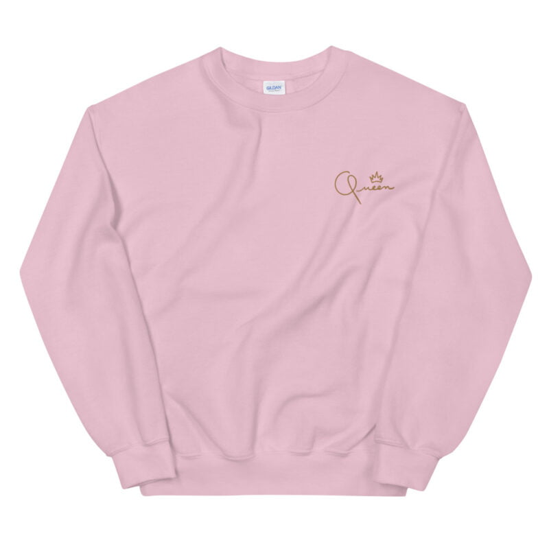 Relax fit sweat with the word Queen embroidered in the chest. The embroidery is golden because true queens can only wear gold. Sweats - LGBTQ+ Gay Pride Apparel - unisex crew neck sweatshirt light pink front 60af770dd65f7