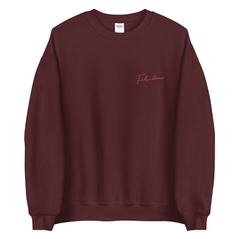 Relax fit sweat with the word fabulous embroidered on the left chest. This word is written in a pink color and an handwriting style. Sweats - LGBTQ+ Gay Pride Apparel - unisex crew neck sweatshirt maroon front 60a38b0d5383b