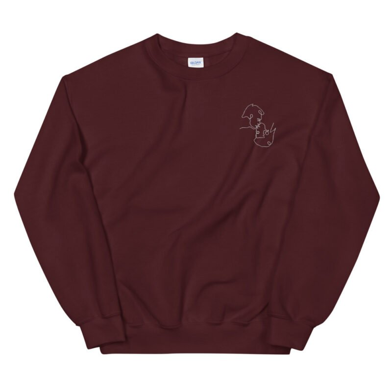 Relax fit sweat with an embroidery on the chest. The embroidery shows a gay couple kissing in a 69 style. The drawing is made from a single pencil line. Sweats - LGBTQ+ Gay Pride Apparel - unisex crew neck sweatshirt maroon front 60a3aa1a12d38