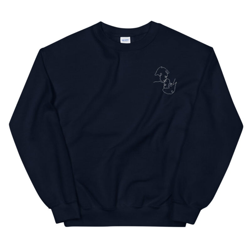 Relax fit sweat with an embroidery on the chest. The embroidery shows a gay couple kissing in a 69 style. The drawing is made from a single pencil line. Sweats - LGBTQ+ Gay Pride Apparel - unisex crew neck sweatshirt navy front 60a3aa1a13ebd