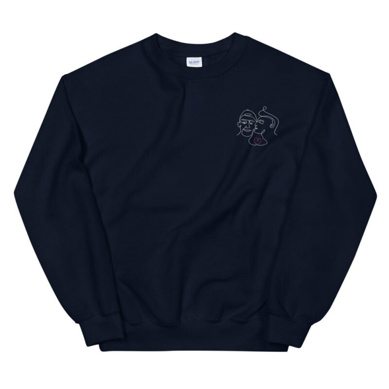 Relax fit sweat with an embroidery on the chest showing 2 lovers. One guy is kissing the cheek of the second man. Sweats - LGBTQ+ Gay Pride Apparel - unisex crew neck sweatshirt navy front 60a3aa64d35dd