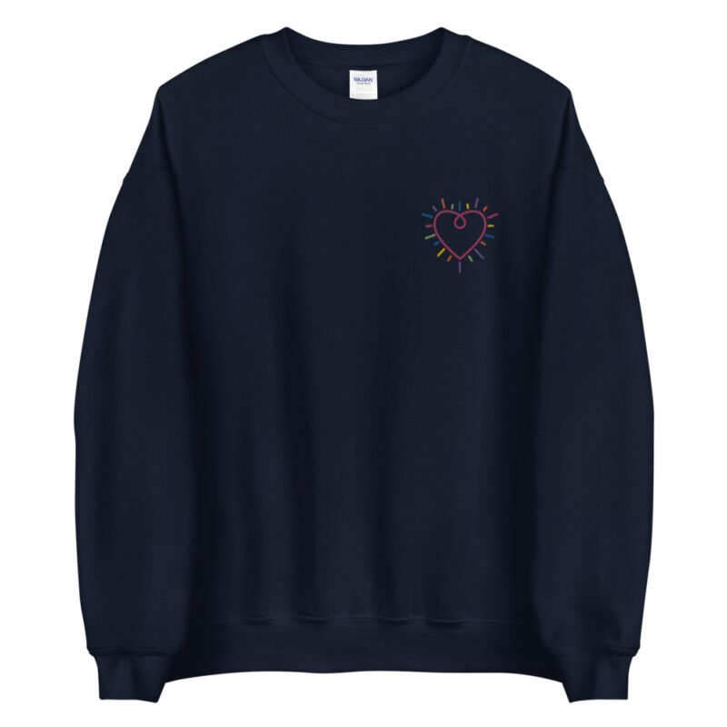 Show how colored is your heart. This sweatshirt has a heart-shaped embroidery in the colors of the rainbow in the chest. Sweats - LGBTQ+ Gay Pride Apparel - unisex crew neck sweatshirt navy front 60b3b2b5875f5