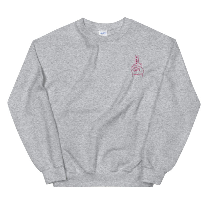 """Relax fit sweat with an anti homophobia message embroidered on the left chest. """"F*ck homophobia"""" is written in pink letters. Sweats - LGBTQ+ Gay Pride Apparel - unisex crew neck sweatshirt sport grey front 60a2aa2f99922"""