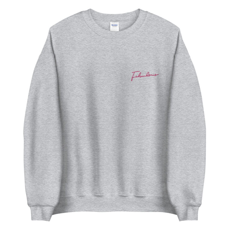 Relax fit sweat with the word fabulous embroidered on the left chest. This word is written in a pink color and an handwriting style. Sweats - LGBTQ+ Gay Pride Apparel - unisex crew neck sweatshirt sport grey front 60a38b0d5144b