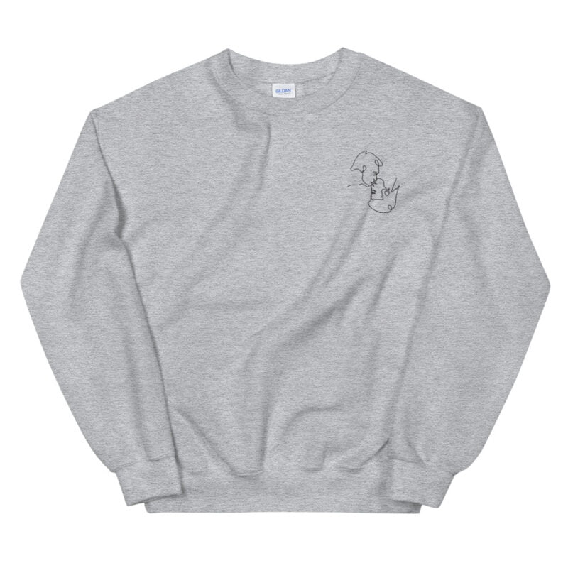 Relax fit sweat with an embroidery on the chest. The embroidery shows a gay couple kissing in a 69 style. The drawing is made from a single pencil line. Sweats - LGBTQ+ Gay Pride Apparel - unisex crew neck sweatshirt sport grey front 60a3a06b41c74