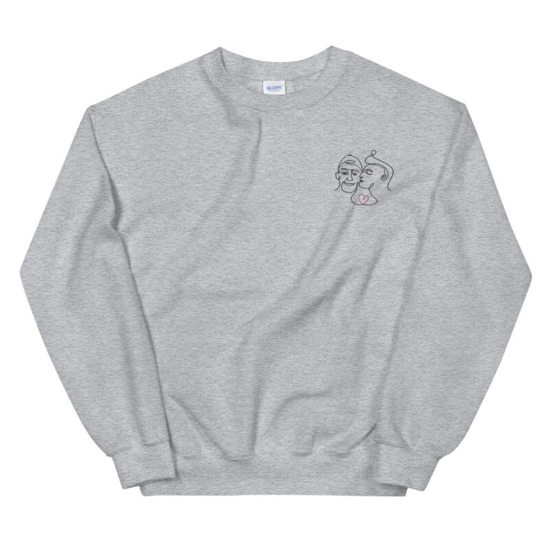 Relax fit sweat with an embroidery on the chest showing 2 lovers. One guy is kissing the cheek of the second man. Sweats - LGBTQ+ Gay Pride Apparel - unisex crew neck sweatshirt sport grey front 60a3a0c613a11