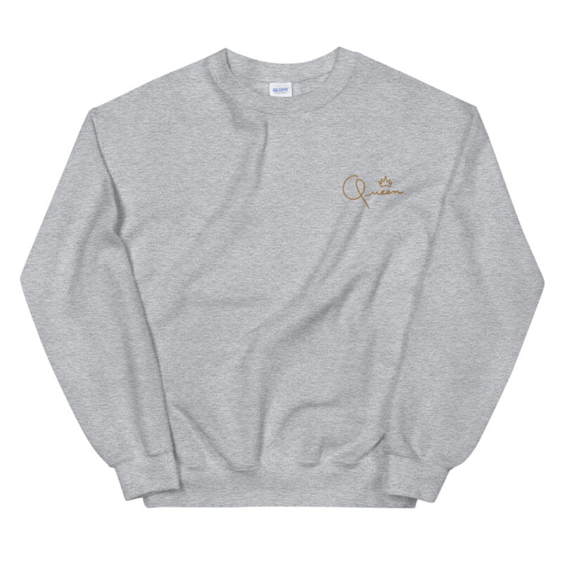 Relax fit sweat with the word Queen embroidered in the chest. The embroidery is golden because true queens can only wear gold. Sweats - LGBTQ+ Gay Pride Apparel - unisex crew neck sweatshirt sport grey front 60af770dd52a6