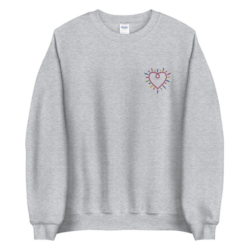 Show how colored is your heart. This sweatshirt has a heart-shaped embroidery in the colors of the rainbow in the chest. Sweats - LGBTQ+ Gay Pride Apparel - unisex crew neck sweatshirt sport grey front 60b3b2b58d689