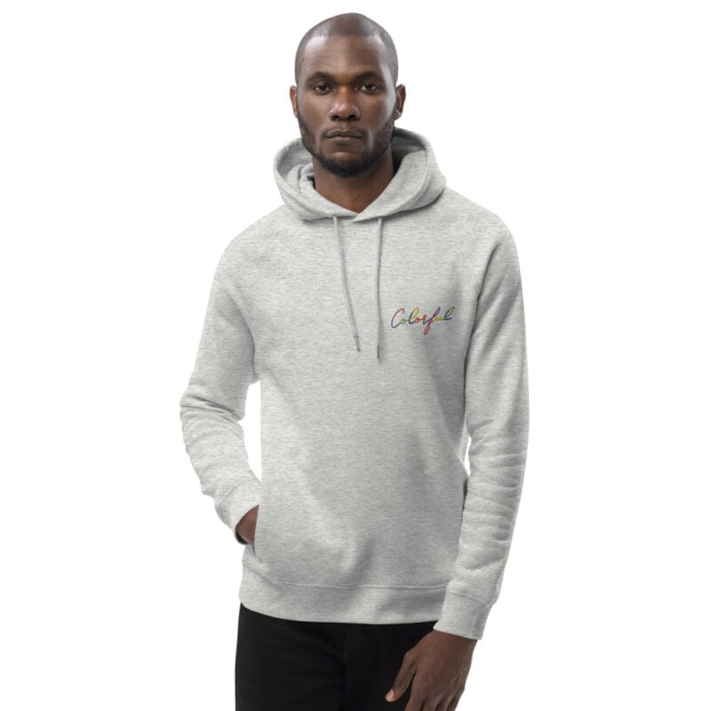 Hoodie with an handwritten embroidery on the left chest. This hoodie has the word Colorful embroidered in rainbow colors. Hoodies - LGBTQ+ Gay Pride Apparel - unisex eco hoodie heather grey front 60a3882de78c1