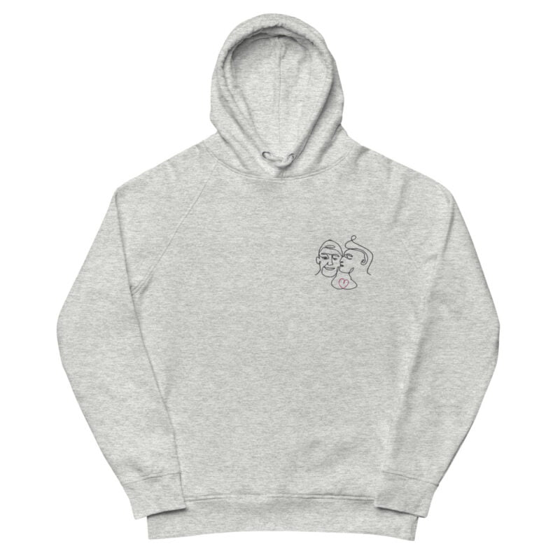 Hoodie with an embroidery of 2 men in love. One guy is kissing the cheek of the other one. The drawing represents 2 lovers with a single pencil stroke. A red heart connect the men. Hoodies - LGBTQ+ Gay Pride Apparel - unisex eco hoodie heather grey front 60a3a92e760ff