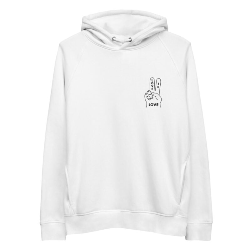 """Hoodie with a peace and love design embroidered on the chest. The message """"Love is love"""" is written on a hand making the peace sign. Hoodies - LGBTQ+ Gay Pride Apparel - unisex eco hoodie white front 60a28e0af33b6"""