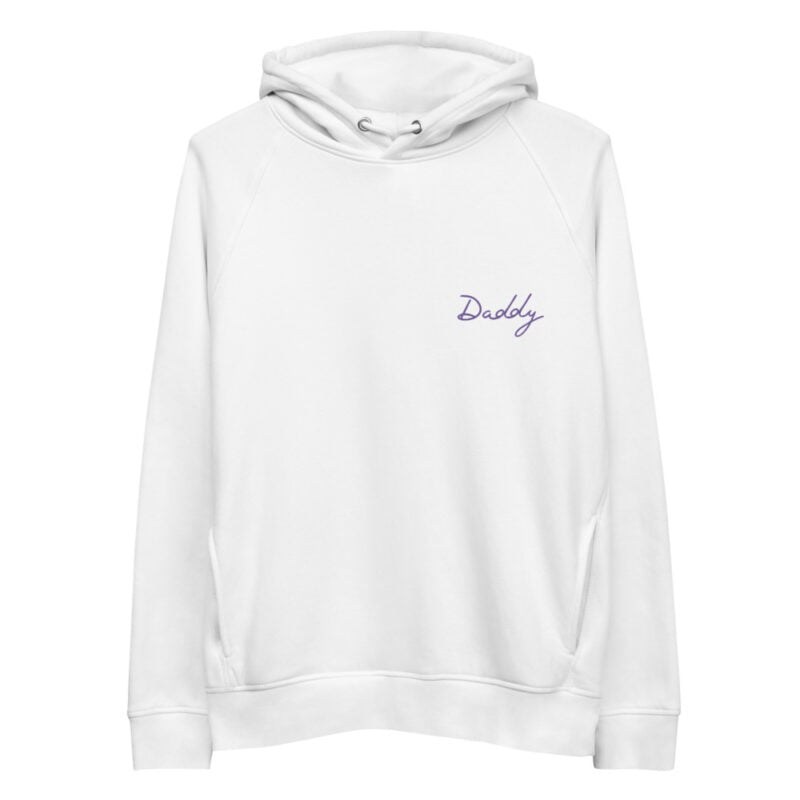 Hoodie with an embroidery on the chest. The word Daddy is handwritten in purple letters. Hoodies - LGBTQ+ Gay Pride Apparel - unisex eco hoodie white front 60a387c6ccee3