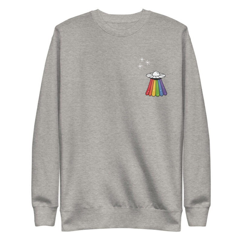 Sweatshirt with a rainbow UFO printed on the chest. This sweat has regular fit and premium fabric. Sweats - LGBTQ+ Gay Pride Apparel - unisex fleece pullover carbon grey front 6095b96580e10