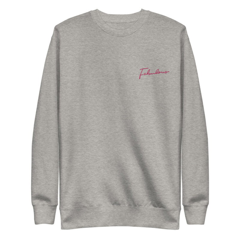 Regular fit sweat with an handwritten embroidery. This embroidery is the word Fabulous in pink color. Sweats - LGBTQ+ Gay Pride Apparel - unisex fleece pullover carbon grey front 60a38a46221ff
