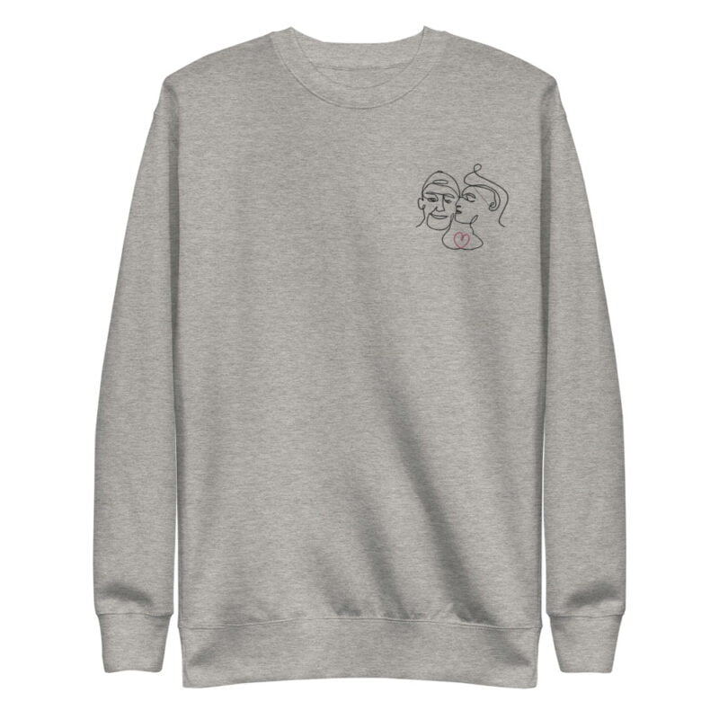 Regular Fit Sweat with an embroidery on the chest. It represents 2 boys kissing. A red heart connect the 2 lovers. Sweats - LGBTQ+ Gay Pride Apparel - unisex fleece pullover carbon grey front 60a3a1017f548