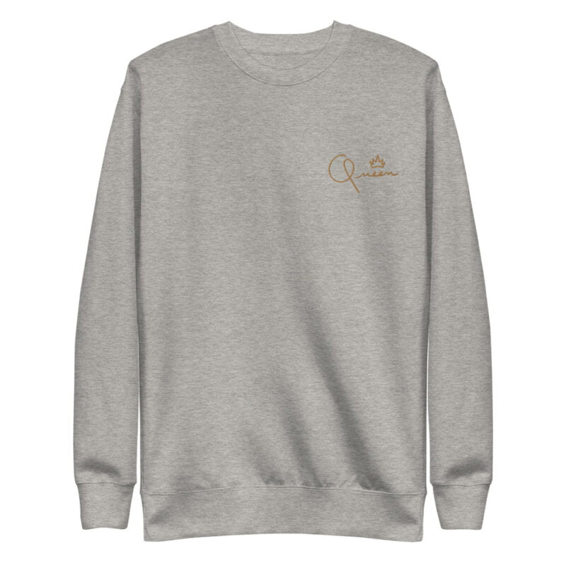Regular fit sweat with the word Queen embroidered in the left chest. The embroidery is golden because true queens can only wear gold. Sweats - LGBTQ+ Gay Pride Apparel - unisex fleece pullover carbon grey front 60af767beb1b7