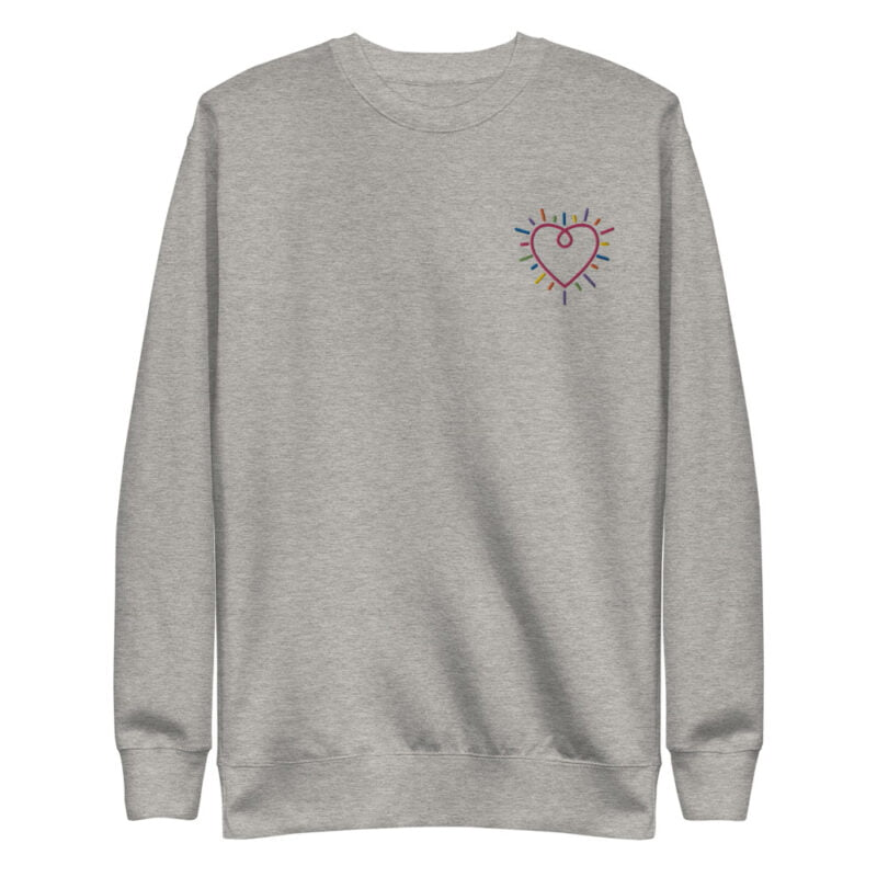This premium sweat has a heart embroidered on the chest. It's perfect to show how big and colorful is your heart. Sweats - LGBTQ+ Gay Pride Apparel - unisex fleece pullover carbon grey front 60b3b230899a0