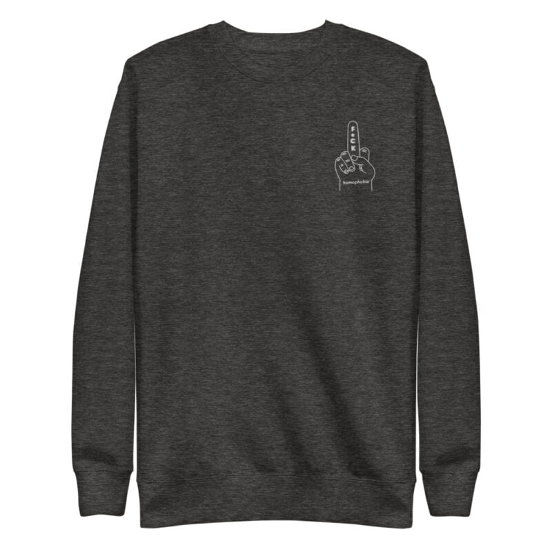 Regular fit sweat with an anti homophobia embroidery on the left chest. The color of the embroidery depends on the color of the sweatshirt. Sweats - LGBTQ+ Gay Pride Apparel - unisex fleece pullover charcoal heather front 60a27e237f34f