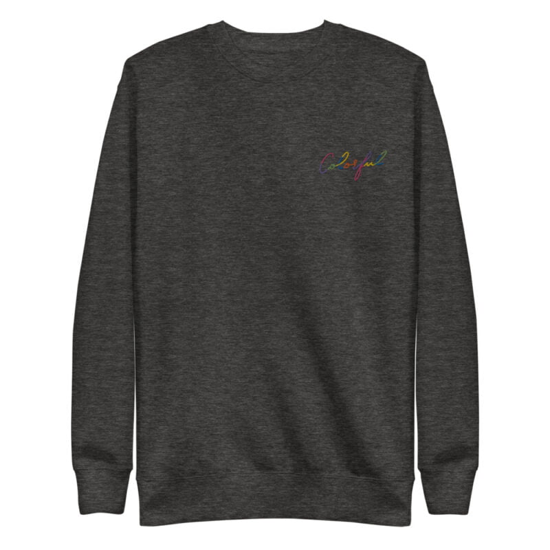 Regular fit and premium sweat with the text Colorful embroidered with rainbow colors. The text use an handwriting style. Sweats - LGBTQ+ Gay Pride Apparel - unisex fleece pullover charcoal heather front 60a38ab1cdee8