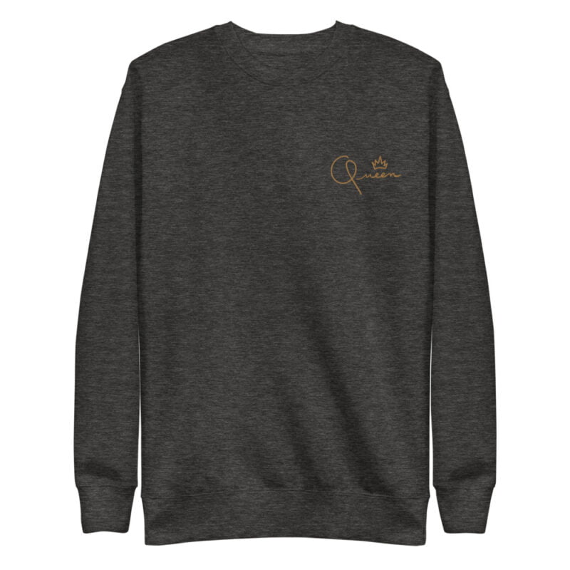 Regular fit sweat with the word Queen embroidered in the left chest. The embroidery is golden because true queens can only wear gold. Sweats - LGBTQ+ Gay Pride Apparel - unisex fleece pullover charcoal heather front 60af767beb938